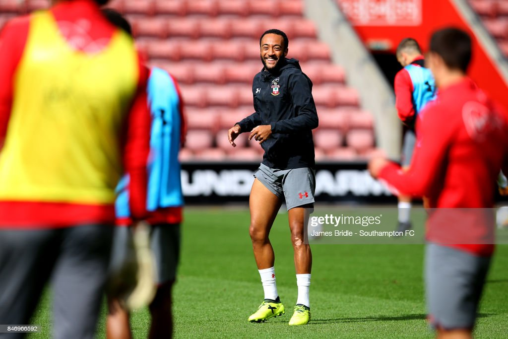 Nathan Redmond (middle) during a Southampton FC training session at St Mary's Stadium on September 14, 2017 in Southampton, England.