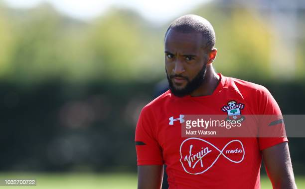 Nathan Redmond during a Southampton FC training session at the Staplewood Campus on September 13 2018 in Southampton England