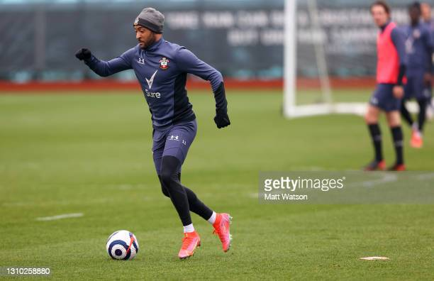 Nathan Redmond during a Southampton FC training session at the Staplewood Campus on March 31, 2021 in Southampton, England.
