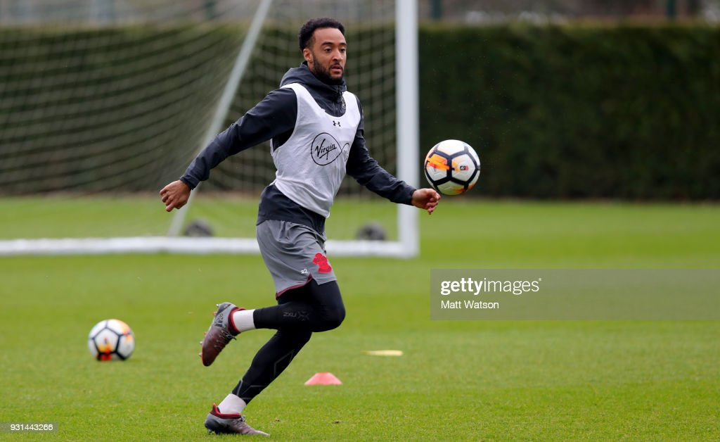 Nathan Redmond during a Southampton FC training session at the Staplewood Campus on March 13, 2018 in Southampton, England.