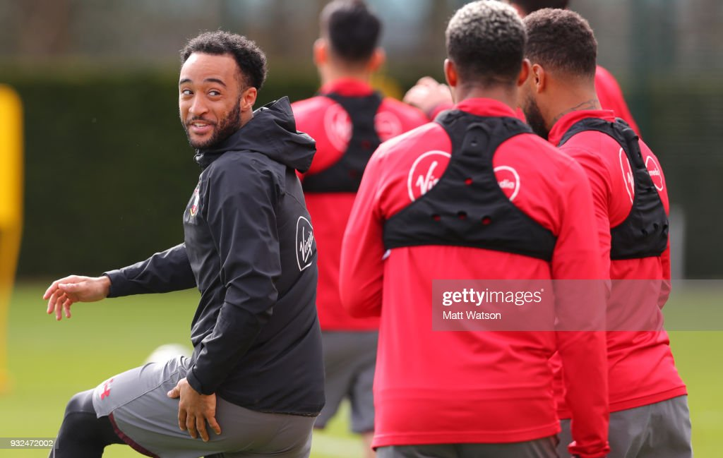 Nathan Redmond during a Southampton FC training session at the Staplewood Campus on March 15, 2018 in Southampton, England.