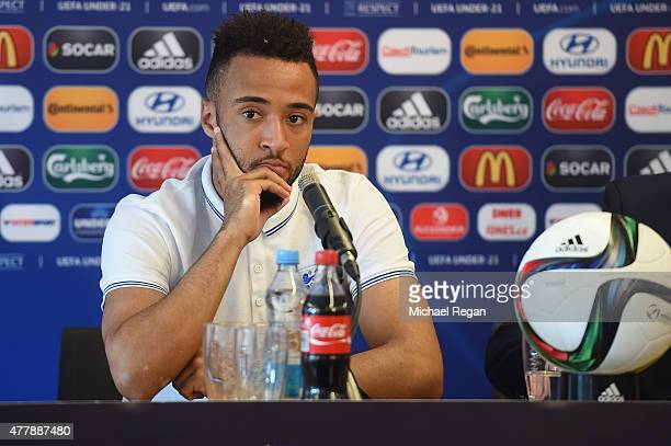Nathan Redmond looks on as he speaks to the press during the England U21 training session and press conference on June 20 2015 in Olomouc Czech...