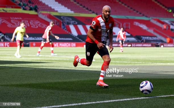 Nathan Redmond of during the Premier League match between Southampton and Burnley at St Mary's Stadium on April 04, 2021 in Southampton, England....