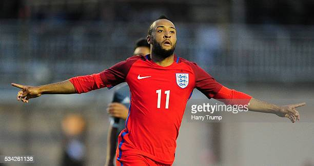 Nathan Redmond of England celebrates after scoring his sides fourth goal during the Toulon Tournament match between Paraguay and England at Stade...