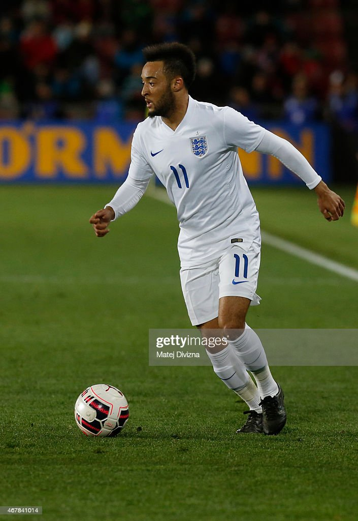Nathan Redmond of England in action during the international friendly match between U21 Czech Republic and U21 England at Letna Stadium on March 27, 2015 in Prague, Czech Republic.