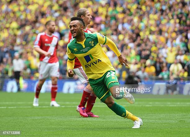 Nathan Redmond of Norwich City celebrates as he scores their second goal during the Sky Bet Championship Playoff Final between Middlesbrough and...