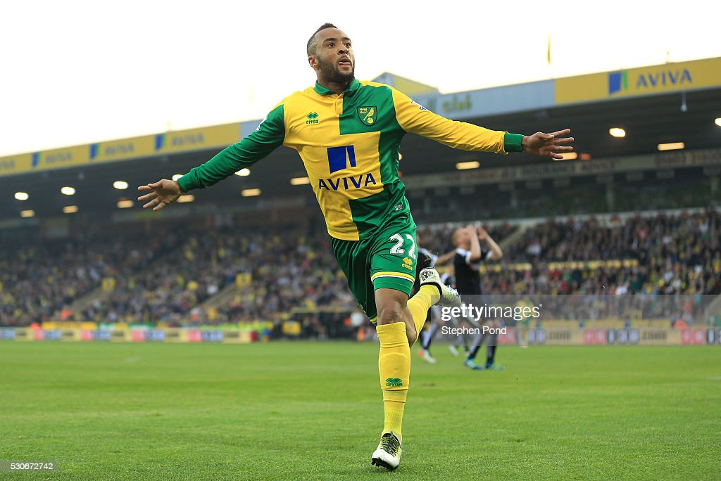 Nathan Redmond of Norwich City celebrates scoring his team's opening goal during the Barclays Premier League match between Norwich City and Watford at Carrow Road on May 11, 2016 in Norwich, England.