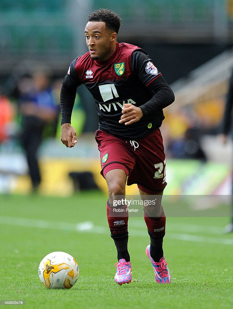 Nathan Redmond of Norwich City during the Sky Bet Championship match between Wolverhampton Wanderers and Norwich City at the Molineux Stadium on August 10, 2014 in Wolverhampton, England.
