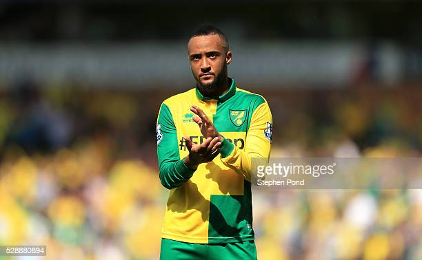 Nathan Redmond of Norwich City reacts after his team's 01 defeat in the Barclays Premier League match between Norwich City and Manchester United at...