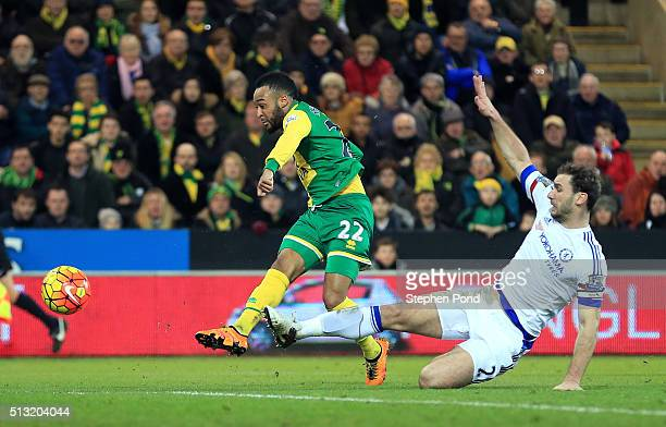 Nathan Redmond of Norwich City scores his team's first goal during the Barclays Premier League match between Norwich City and Chelsea at Carrow Road...