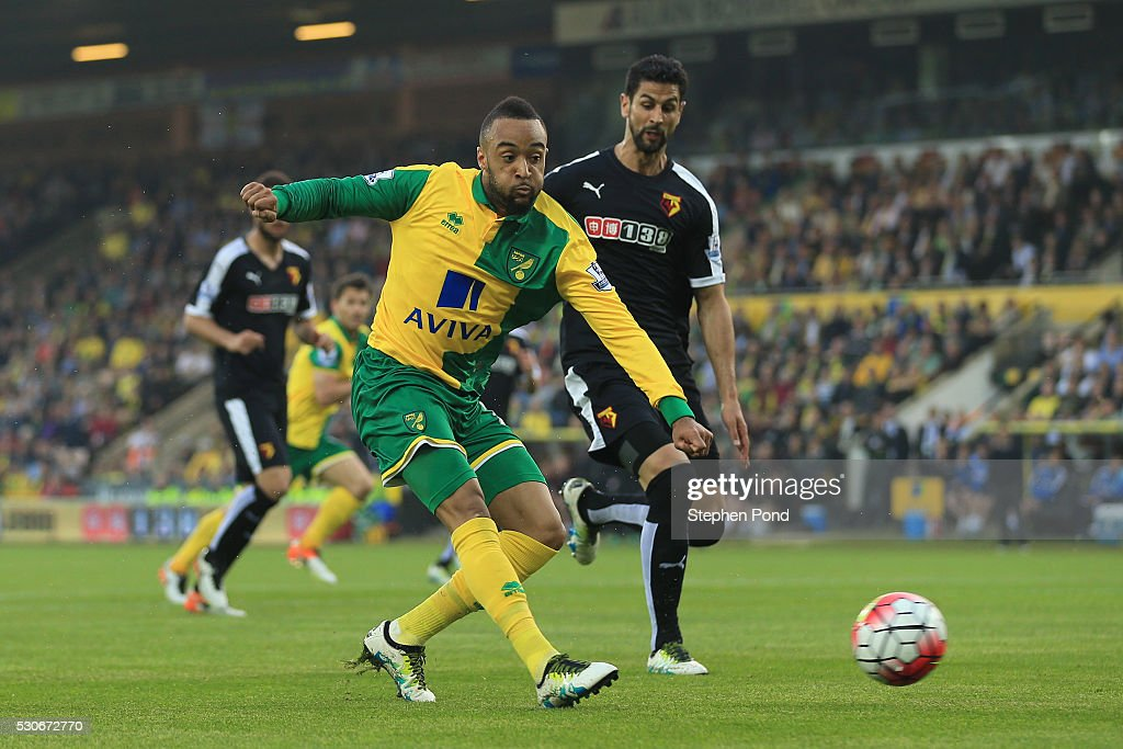 Nathan Redmond of Norwich City scores his team's opening goal during the Barclays Premier League match between Norwich City and Watford at Carrow Road on May 11, 2016 in Norwich, England.