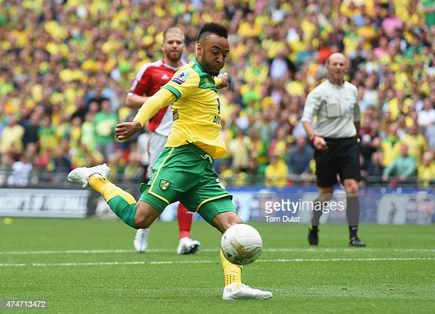 Nathan Redmond of Norwich City scores their second goal during the Sky Bet Championship Playoff Final between Middlesbrough and Norwich City at...