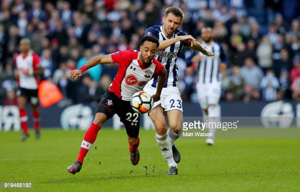 Nathan Redmond of Southampton and Craig Dawson of West Bromwich Albion during the Emirates FA Cup fifth round match between West Bromwich Albion and...