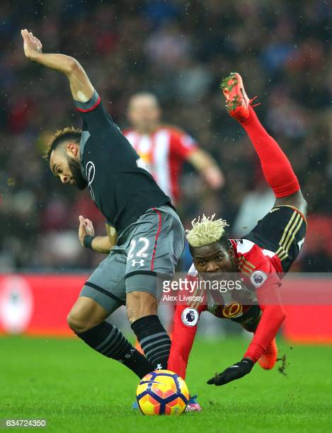 Nathan Redmond of Southampton and Dider N'dong of Sunderland compete for the ball during the Premier League match between Sunderland and Southampton...