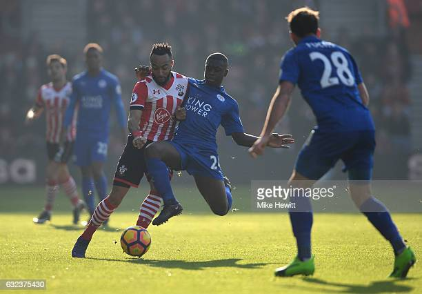 Nathan Redmond of Southampton and Nampalys Mendy of Leicester City compete for the ball during the Premier League match between Southampton and...
