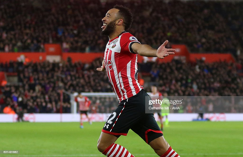 Nathan Redmond of Southampton celebrates after he scores a goal to make it 1-0 during the EFL Cup semi-final first leg match between Southampton and Liverpool at St Mary's Stadium on January 11, 2017 in Southampton, England.