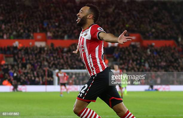 Nathan Redmond of Southampton celebrates after he scores a goal to make it 10 during the EFL Cup semifinal first leg match between Southampton and...