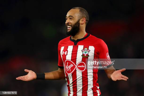 Nathan Redmond of Southampton celebrates after he scores his sides second goal during the FA Cup Third Round Replay match between Southampton FC and...