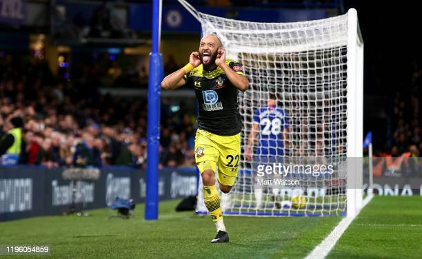 Nathan Redmond of Southampton celebrates after putting his team 2-0 up during the Premier League match between Chelsea FC and Southampton FC at...