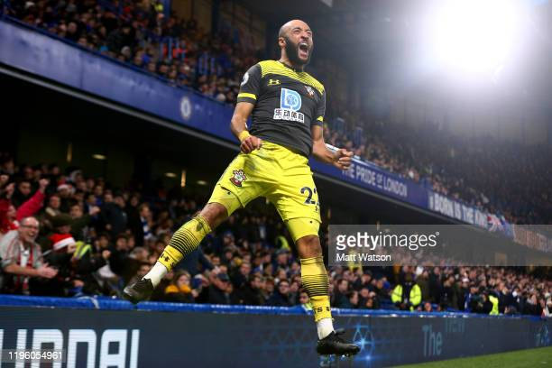 Nathan Redmond of Southampton celebrates after putting his team 20 up during the Premier League match between Chelsea FC and Southampton FC at...