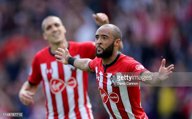 Nathan Redmond of Southampton celebrates after scoring during the Premier League match between Southampton FC and Huddersfield Town at St Mary's...