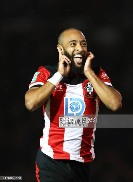 Nathan Redmond of Southampton celebrates after scoring his sides fourth goal during the Carabao Cup Third Round match between Portsmouth and...