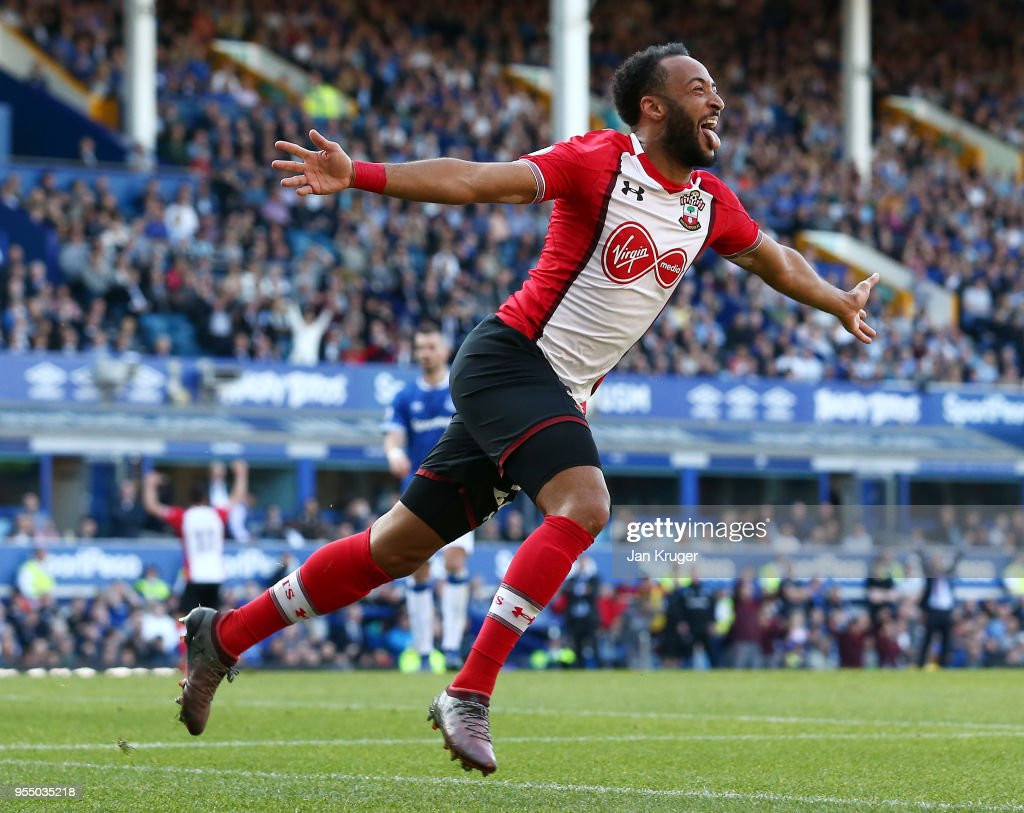 Nathan Redmond of Southampton celebrates after scoring his sides first goal during the Premier League match between Everton and Southampton at Goodison Park on May 5, 2018 in Liverpool, England.