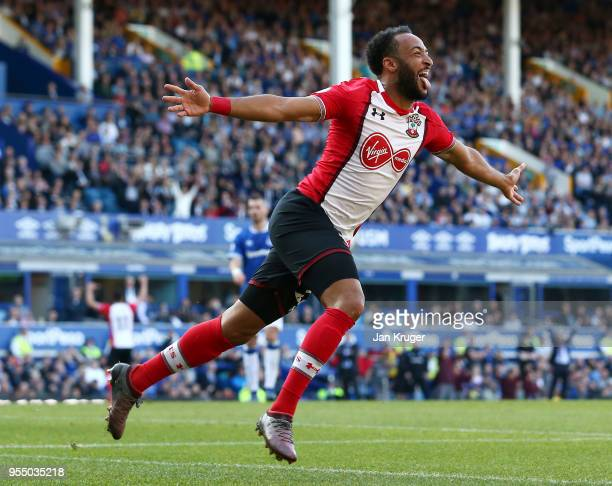 Nathan Redmond of Southampton celebrates after scoring his sides first goal during the Premier League match between Everton and Southampton at...