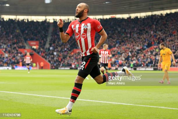 Nathan Redmond of Southampton celebrates after scoring his team's first goal during the Premier League match between Southampton FC and Wolverhampton...
