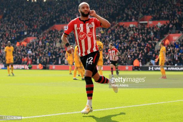 Nathan Redmond of Southampton celebrates after scoring his team's second goal during the Premier League match between Southampton FC and...