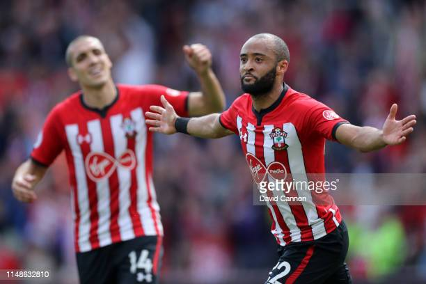 Nathan Redmond of Southampton celebrates after scoring his team's first goal during the Premier League match between Southampton FC and Huddersfield...