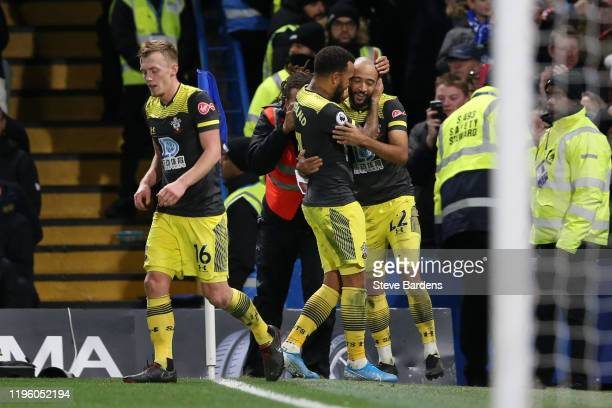 Nathan Redmond of Southampton celebrates after scoring his team's second goal with Ryan Bertrand of Southampton during the Premier League match...