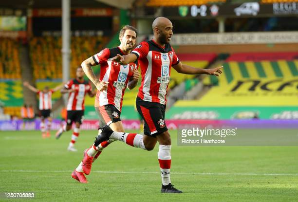 Nathan Redmond of Southampton celebrates after scoring his team's third goal during the Premier League match between Norwich City and Southampton FC...