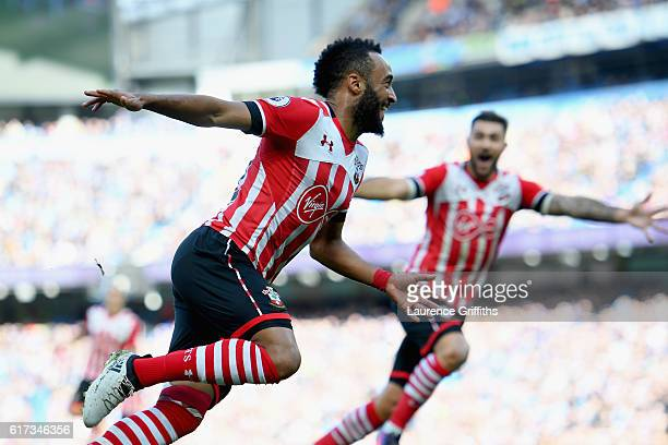 Nathan Redmond of Southampton celebrates after scoring the opening goal during the Premier League match between Manchester City and Southampton at...