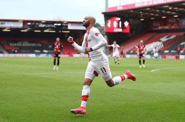 Nathan Redmond of Southampton celebrates after scoring their team's second goal during The Emirates FA Cup Quarter Final match between Bournemouth...