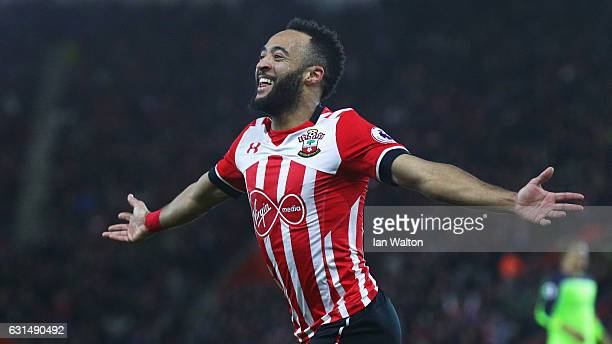 Nathan Redmond of Southampton celebrates as he scores their first goal during the EFL Cup semifinal first leg match between Southampton and Liverpool...
