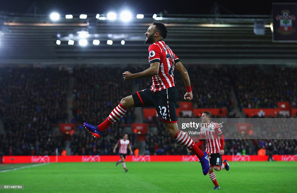 Nathan Redmond of Southampton celebrates as he scores their first goal during the EFL Cup semi-final first leg match between Southampton and Liverpool at St Mary's Stadium on January 11, 2017 in Southampton, England.