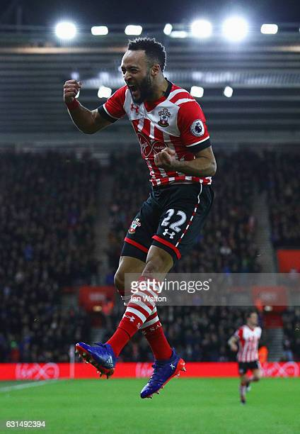 Nathan Redmond of Southampton celebrates as he scores their first goal during the EFL Cup semi-final first leg match between Southampton and...