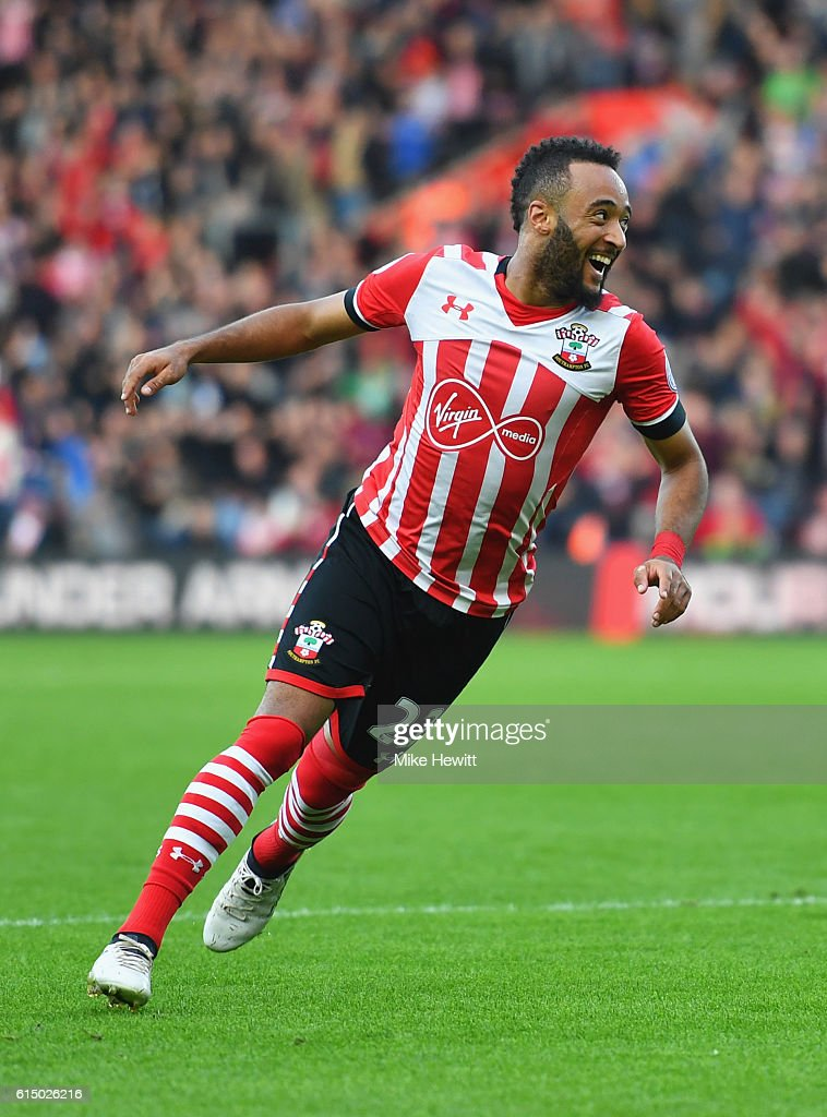 Nathan Redmond of Southampton celebrates as he scores their second goal during the Premier League match between Southampton and Burnley at St Mary's Stadium on October 16, 2016 in Southampton, England.