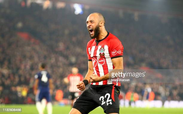Nathan Redmond of Southampton celebrates during the Premier League match between Southampton FC and Fulham FC at St Mary's Stadium on February 27,...