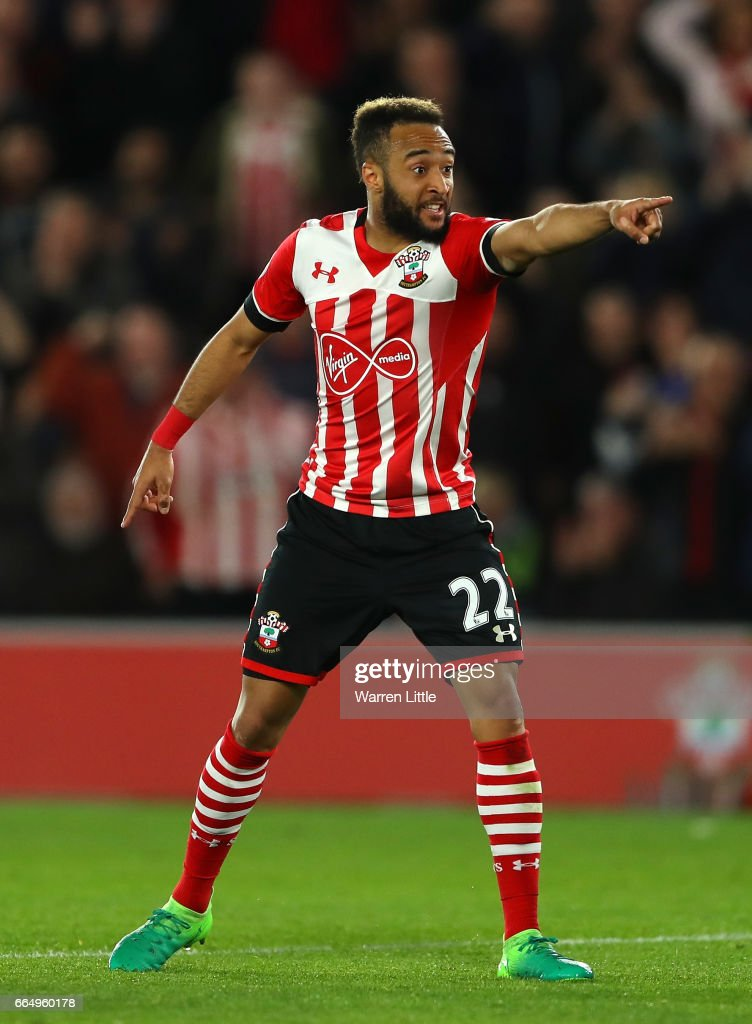 Nathan Redmond of Southampton celebrates scoring his sides first goal during the Premier League match between Southampton and Crystal Palace at St Mary's Stadium on April 5, 2017 in Southampton, England.