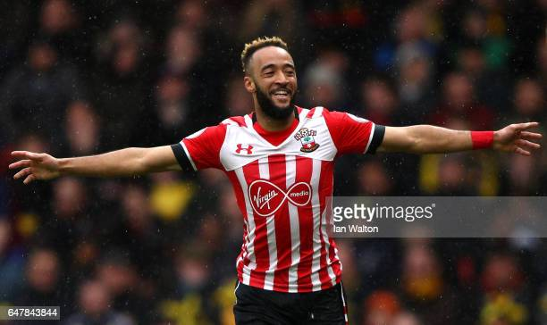 Nathan Redmond of Southampton celebrates scoring his sides third goal during the Premier League match between Watford and Southampton at Vicarage...