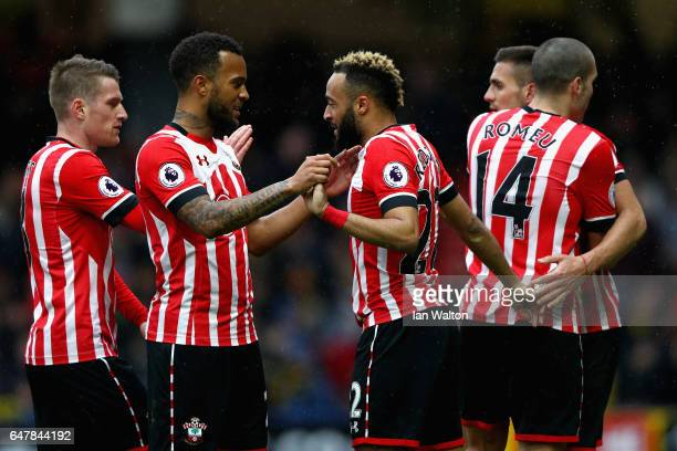 Nathan Redmond of Southampton celebrates scoring his sides third goal with Ryan Bertrand of Southampton during the Premier League match between...