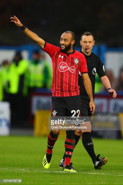 Nathan Redmond of Southampton celebrates scoring the opening goal during the Premier League match between Huddersfield Town and Southampton FC at...