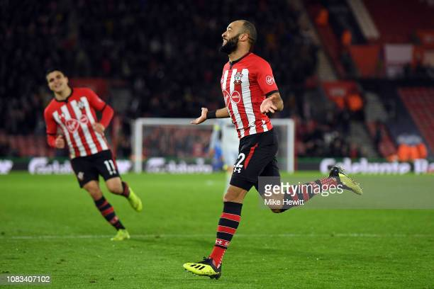 Nathan Redmond of Southampton celebrates scoring their second goal during the FA Cup Third Round Replay match between Southampton FC and Derby County...