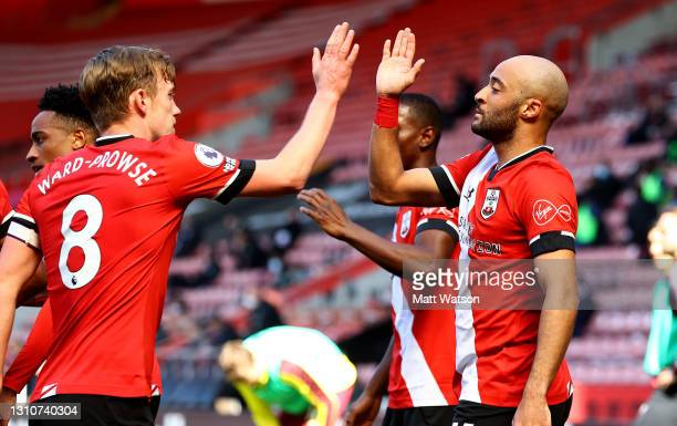 Nathan Redmond of Southampton celebrates with James Ward-Prowse during the Premier League match between Southampton and Burnley at St Mary's Stadium...