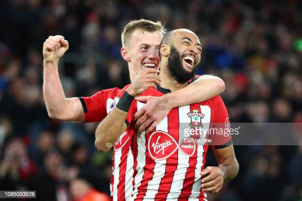 Nathan Redmond of Southampton celebrates with teammate James WardProwse after his sides second goal during the Premier League match between...
