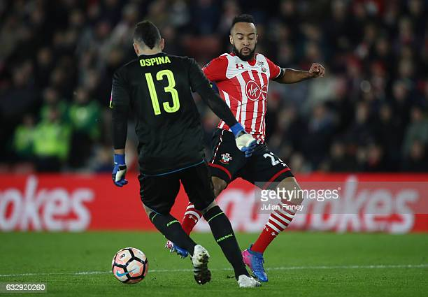 Nathan Redmond of Southampton closes down David Ospina of Arsenal during the Emirates FA Cup Fourth Round match between Southampton and Arsenal at St...