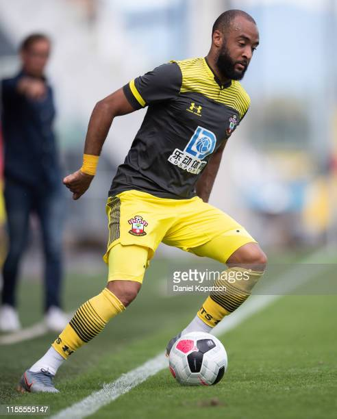 Nathan Redmond of Southampton controls the ball during the friendly match between SCR Altach and FC Southampton at Cashpoint Arena on July 14 2019 in...