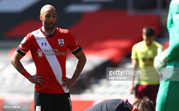 Nathan Redmond of Southampton during the Premier League match between Southampton and Burnley at St Mary's Stadium on April 04, 2021 in Southampton,...